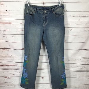 Lily Pulitzer Straight Leg Floral Embroidered Jean